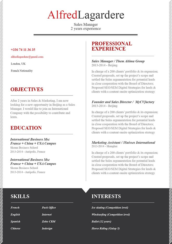 Clean and well-formatted simple resume template