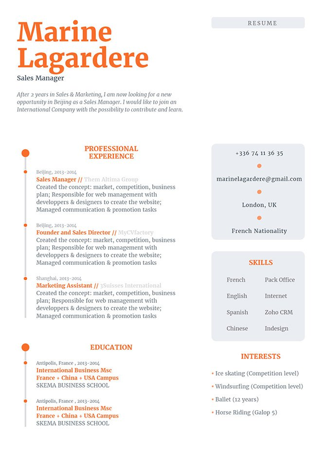 Formatted to bring out each section, this is one simple resume template you would want to have!