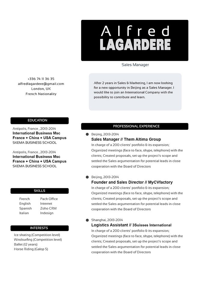 A simple resume lay out that is formatted to perfection.