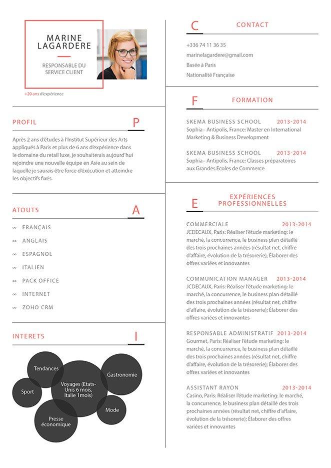Un modèle de CV réparti dans deux colonnes et présenté avec des cadres et bulles colorées, les informations professionnelles du postulant.