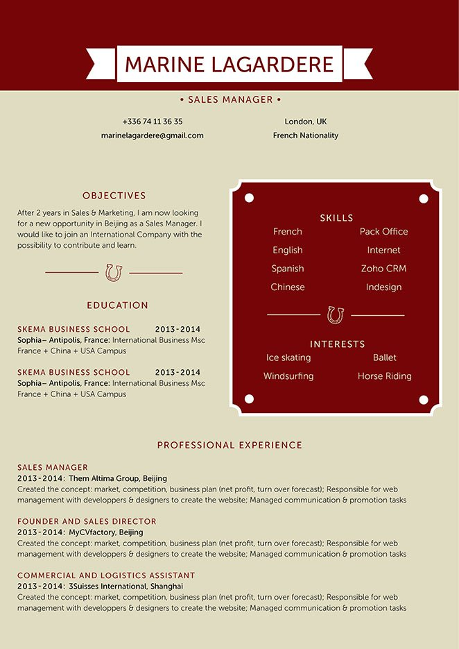 A simple resume with an effective format sure to get you that dream job!