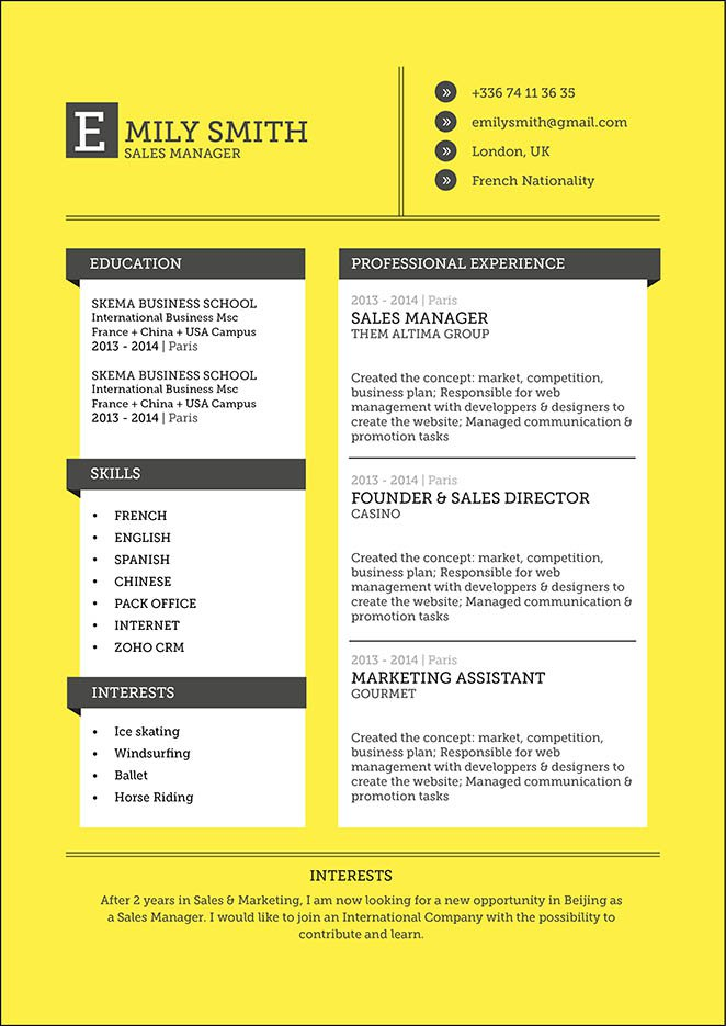 Clear and clean format, a good resume for all types.