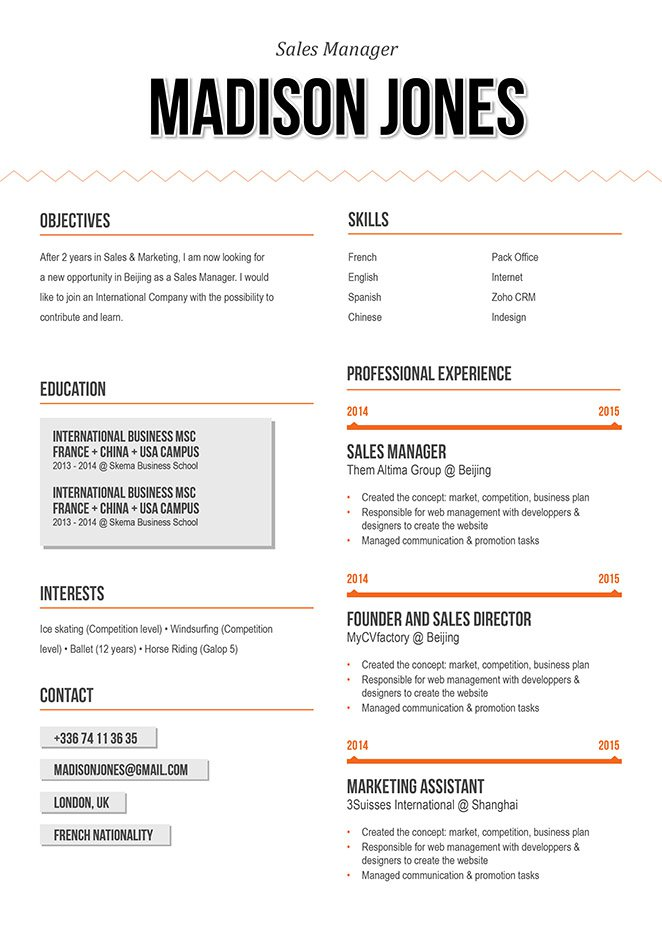 A professional resume format with a great sense of functionality