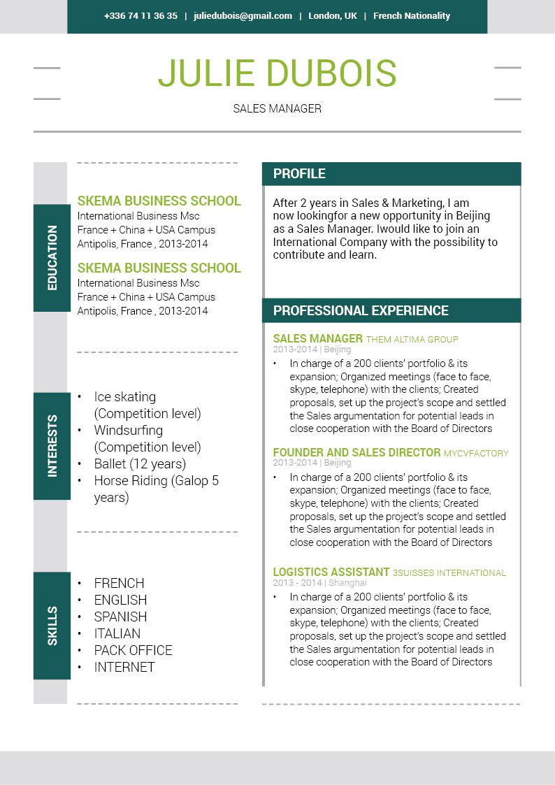 Watch your career sky rocket thanks to this CV format and it's clear and comprehensive design.