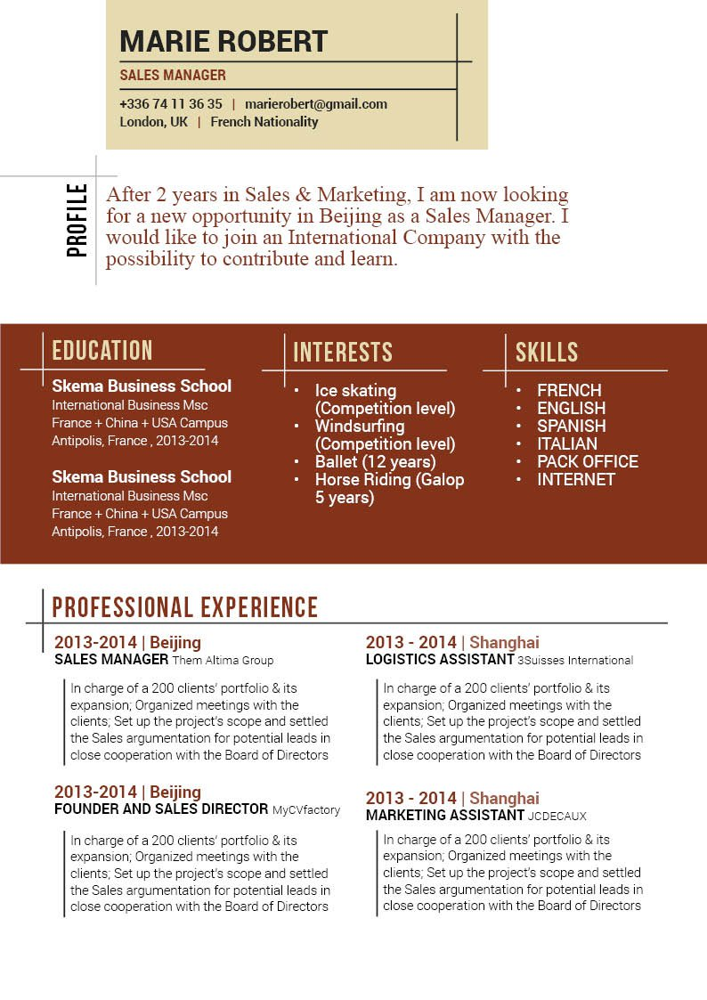Writing a cv is easy with this professiona resume template!