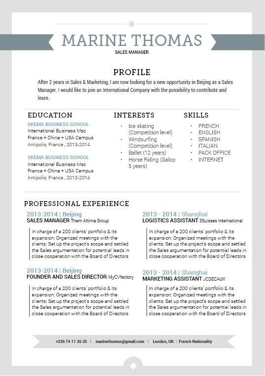 The perfect resume for a job, excellent format and design!
