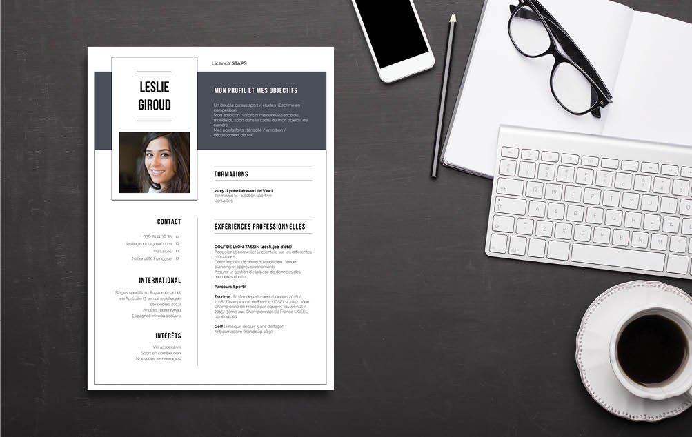 Un CV exemple type pour parcoursup, pour jeunes lycéens sans expérience. Mycvfactory vous aide!