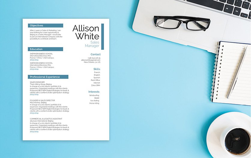 This template has a resume format that will bring out all the important parts