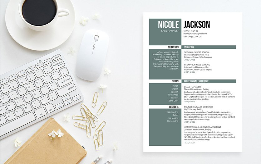 All your qualifcations are made easily accesible thanks to this CV template