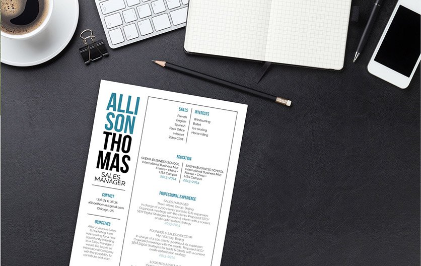 The simple resume format is made lively with its uniqeu design