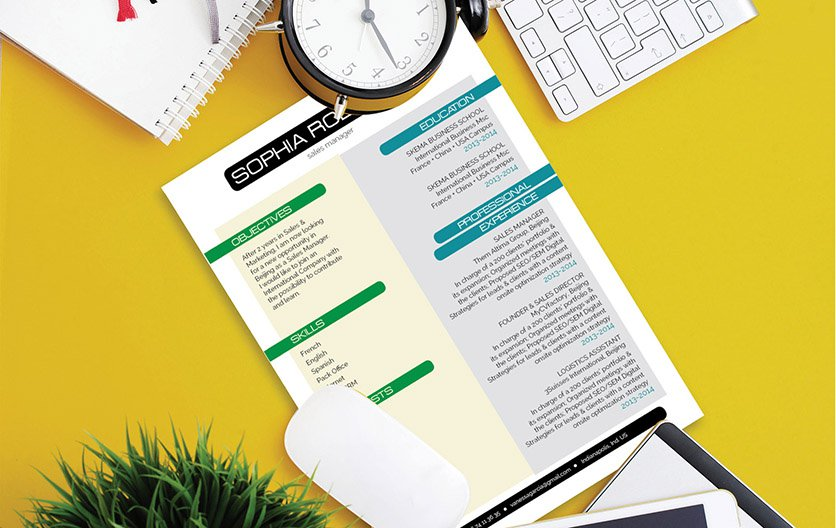 An easy resume with a simple and modern format